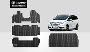 HONDA Odyssey 2014 Full Set (Front Row  2nd Row  3rd Row Trunk Mat) 8 Seater