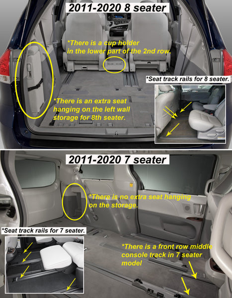 TOYOTA Sienna 2019 Front Row  2nd Row 3rd Row Trunk Mat( 3rd Row Up) 7 Seater