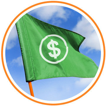 [golf flag with dollar symbol]
