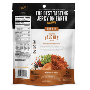 2.2oz Brewmaster Pale Ale Turkey Jerky Back of Bag With Nutrition and Ingredients