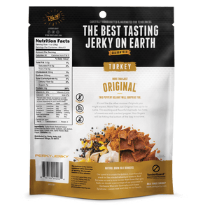 2.2oz More than Original Turkey Jerky Back of Bag With Nutrition and Ingredients