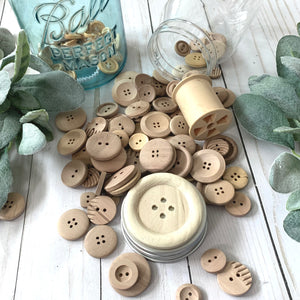 Spare Wood Buttons: 4-hole and ridged