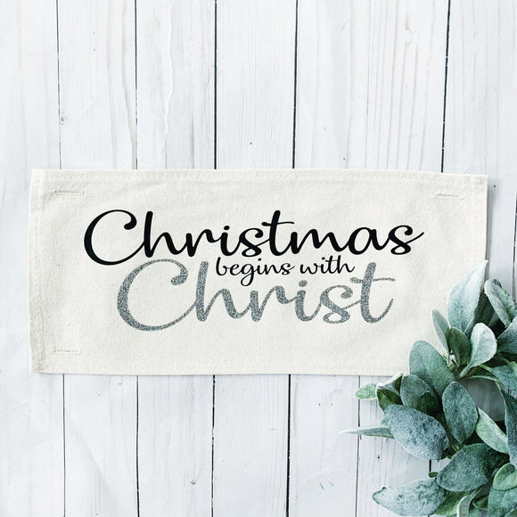 Glitter Panel: Christmas Begins with Christ