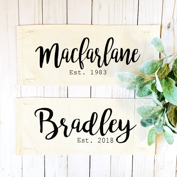Custom Panel: Wedding/Anniversary (custom last name and date)