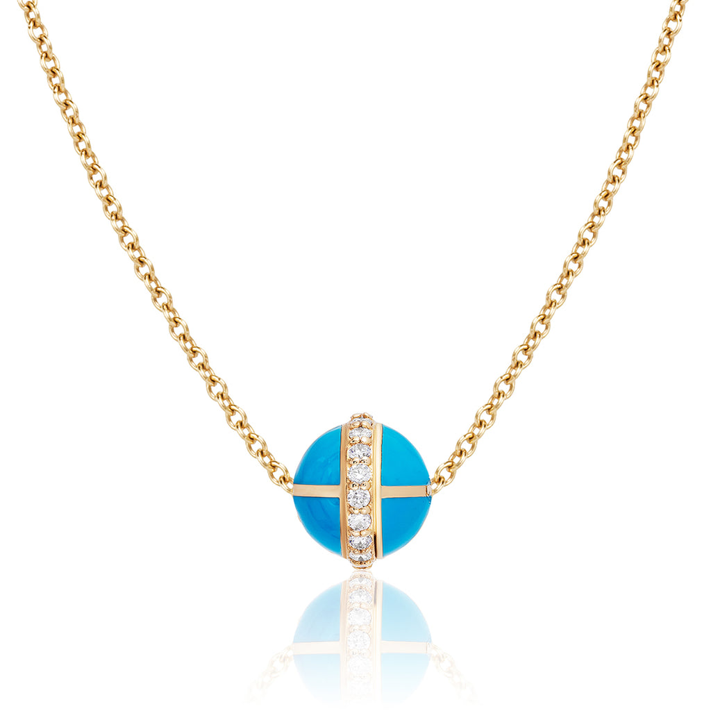 Rising Canopus Pendant with Diamonds (Turquoise)