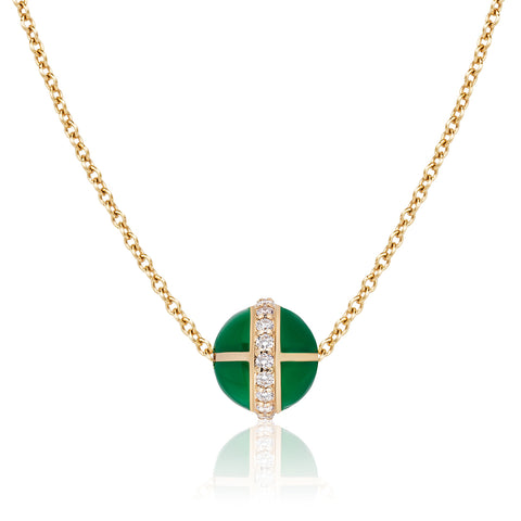 Rising Canopus Pendant with Diamonds (Green)