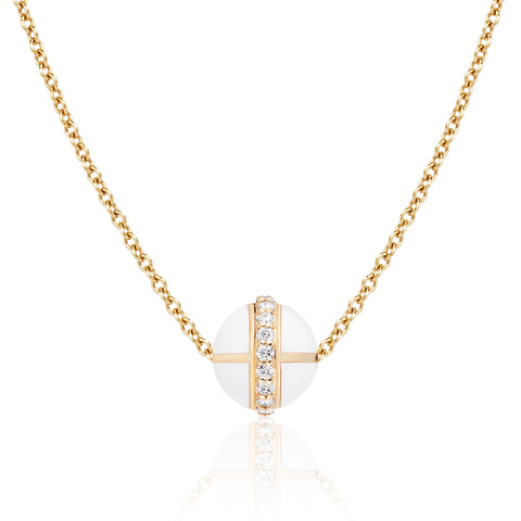 Rising Canopus Pendant with Diamonds (White)