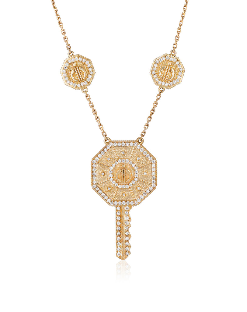 Day & Night Key Necklace in Yellow Gold