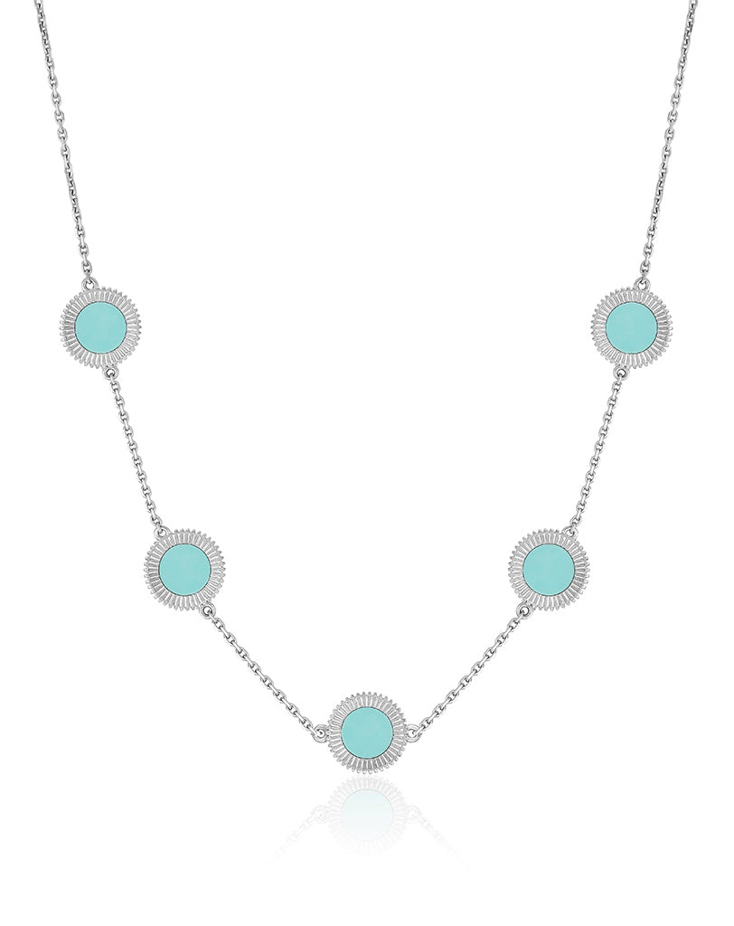 Winder of Love Necklace, 5 Motifs (Turquoise)