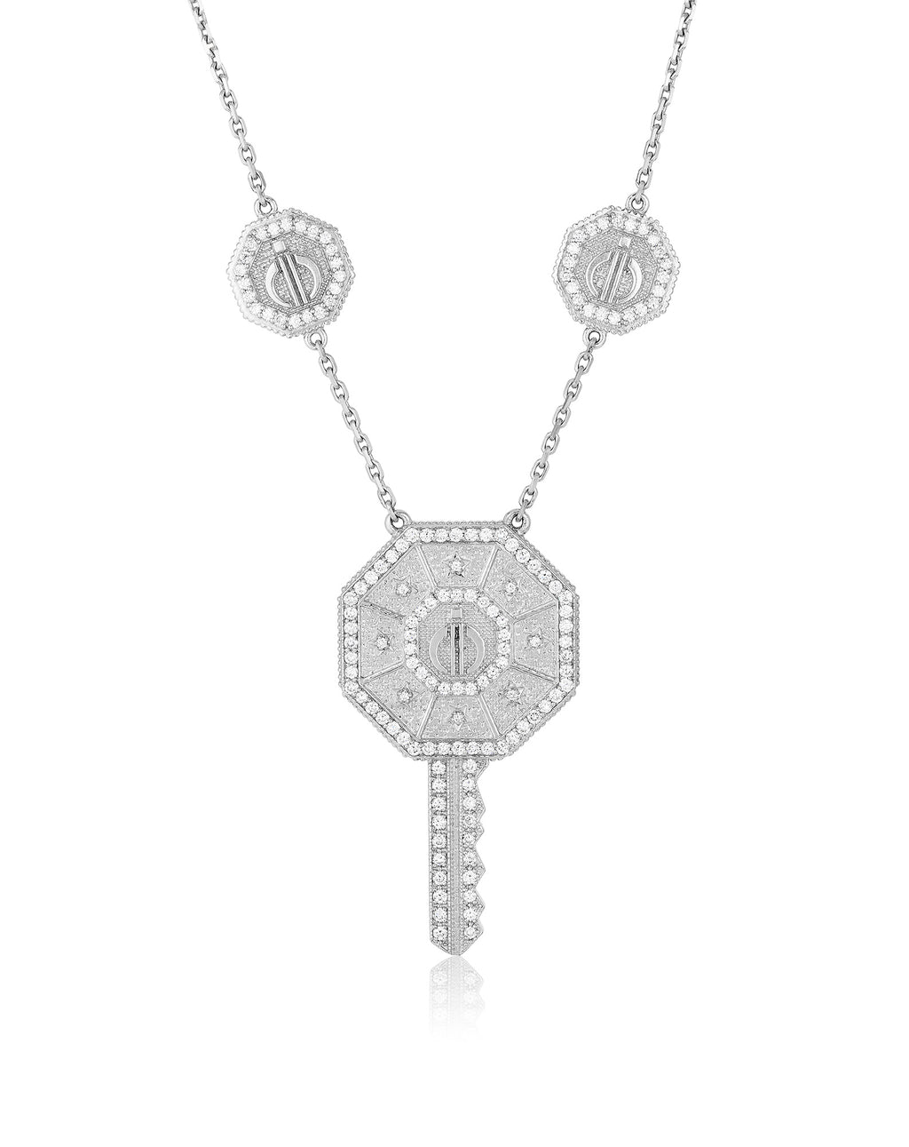 Key Day & Night Necklace in White Gold