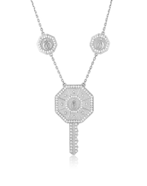 Day & Night Key Necklace in White Gold