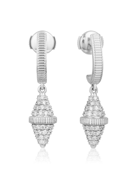 Golden Iconec Earrings with Paved Diamonds (White)