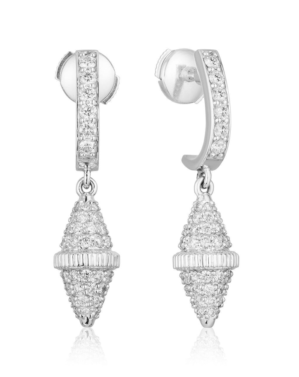 Golden Iconec Earrings with Paved Diamonds (Full, White)