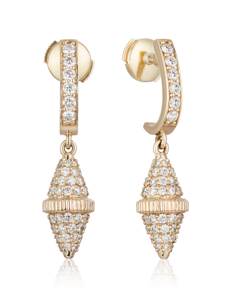 Golden Iconec Earrings with Paved Diamonds (Full)