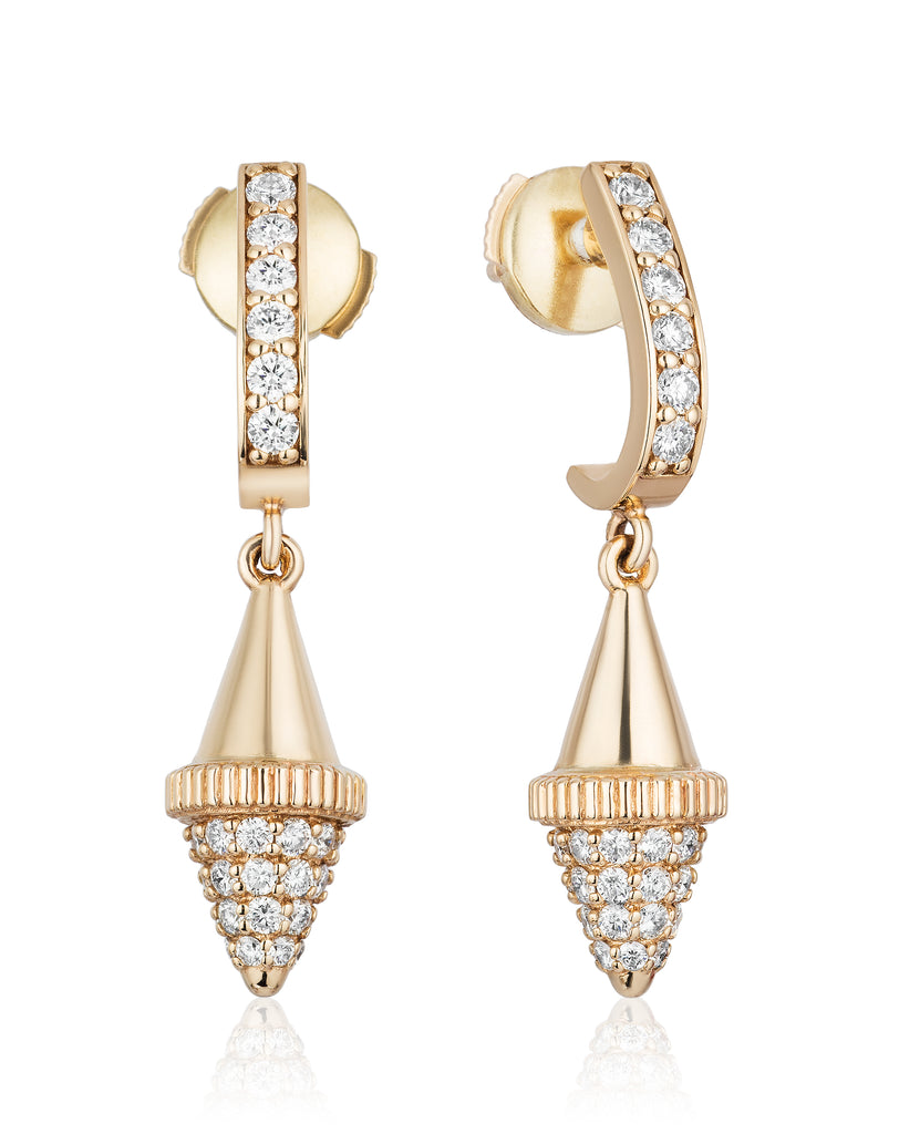 Golden Iconec Earrings with Diamonds (Bottom Cone)