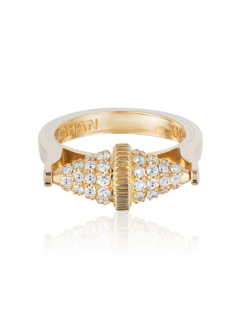 Golden Iconec Ring with Paved Diamonds (Horizontal)