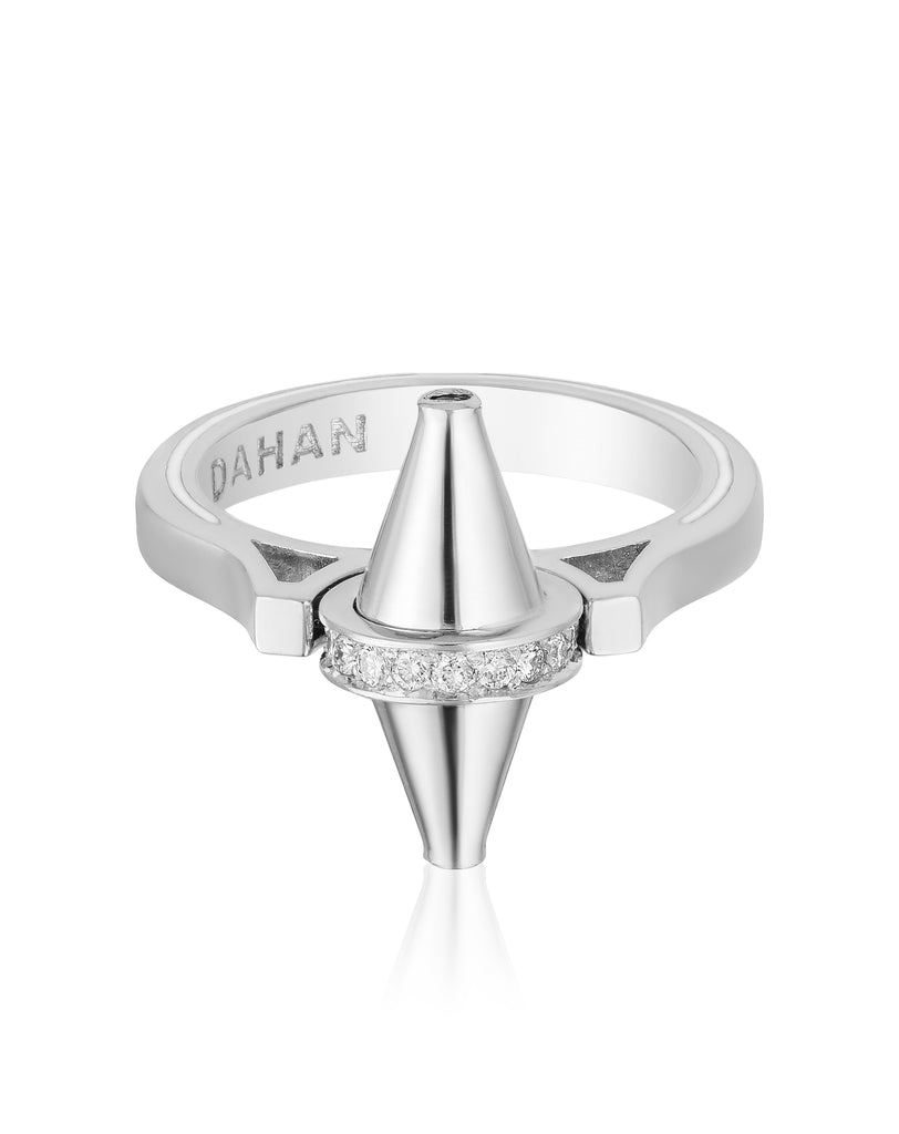 Golden Iconec Ring with Diamonds (White)