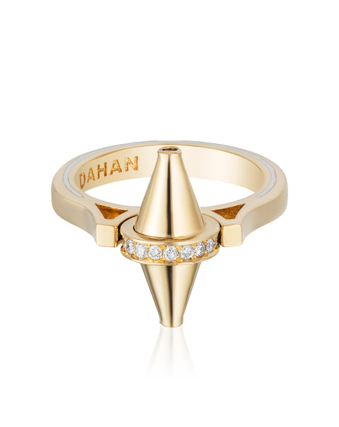 Golden Iconec Ring with Diamonds (Vertical)
