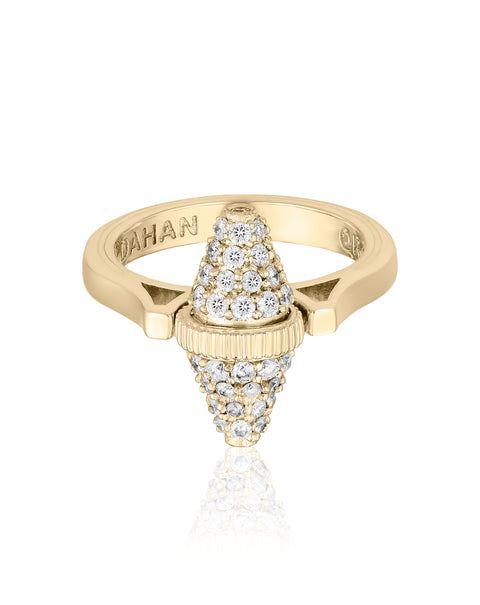 Golden Iconec Ring with Paved Diamonds (Vertical)