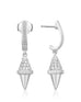 Golden Iconec Earrings with Diamonds (Top Cone, White)