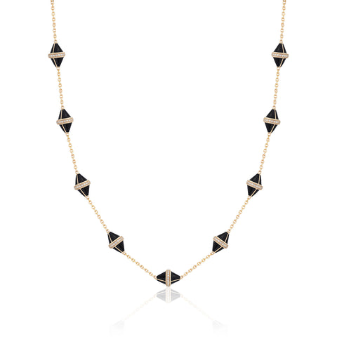 Tresor Iconec Necklace, 10 Motifs and Diamonds (Onyx)