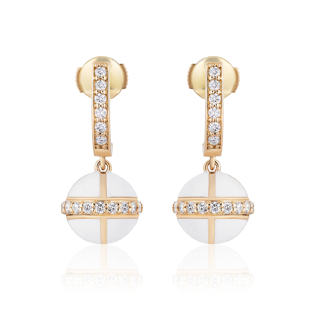 Rising Canopus Drop Earrings with Diamonds (White)