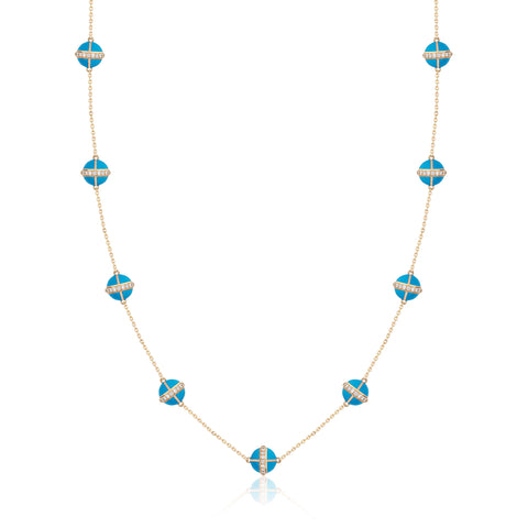Rising Canopus Necklace, 9 Motifs with Diamonds (Turquoise)