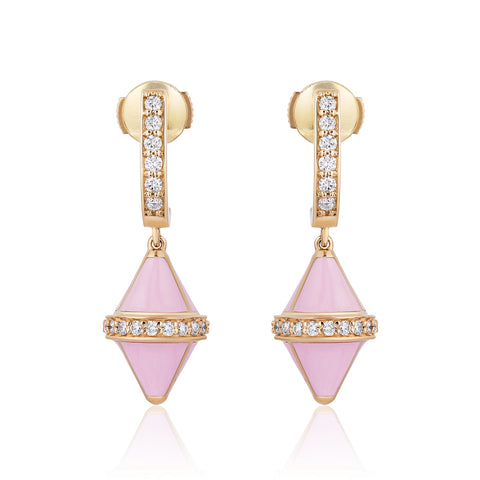 Tresor Iconec Earrings - Pink Enamel with Diamonds