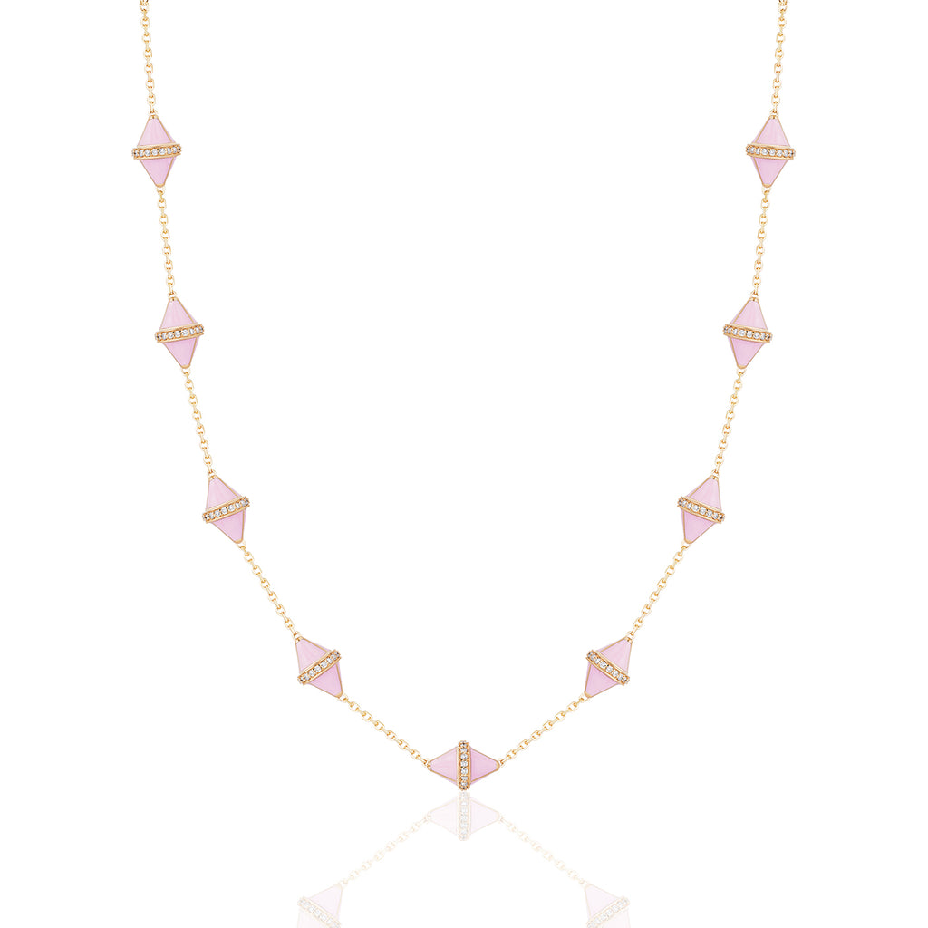 Tresor Iconec Necklace, 10 Motifs and Diamonds (Pink)