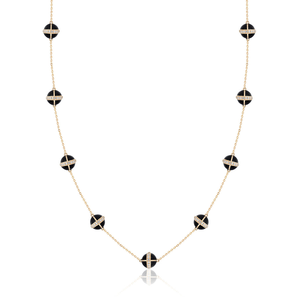 Rising Canopus Necklace, 9 Motifs with Diamonds (Black)
