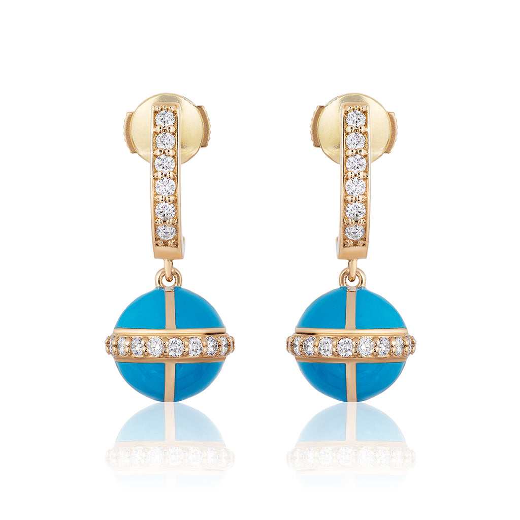 Rising Canopus Drop Earrings with Diamonds (Turquoise)