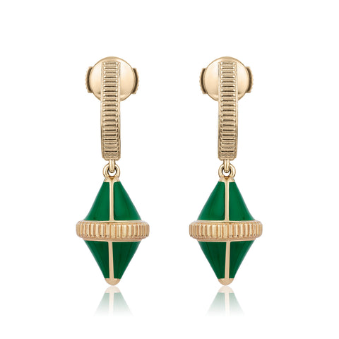 Tresor Iconec Earrings - Green Enamel