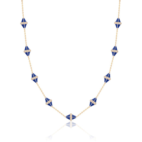 Tresor Iconec Necklace, 10 Motifs and Diamonds  (Blue)