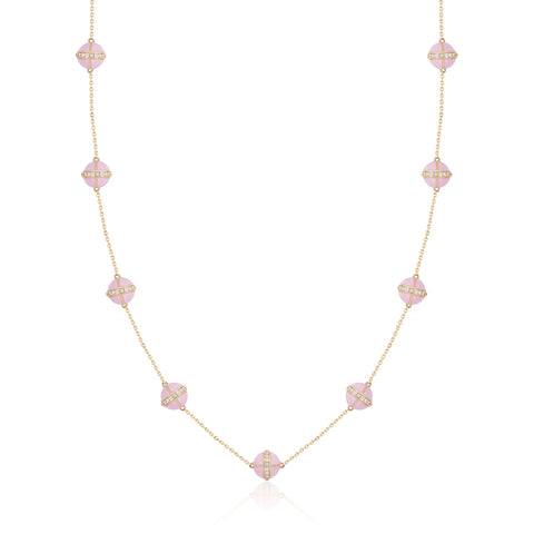 Rising Canopus Necklace, 9 Motifs with Diamonds (Pink)