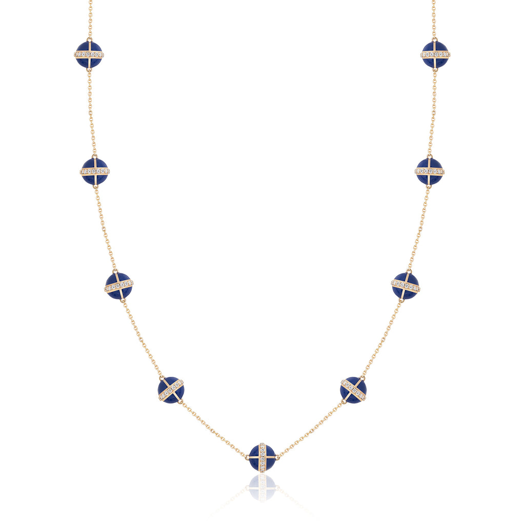 Rising Canopus Necklace, 9 Motifs with Diamonds (Blue)
