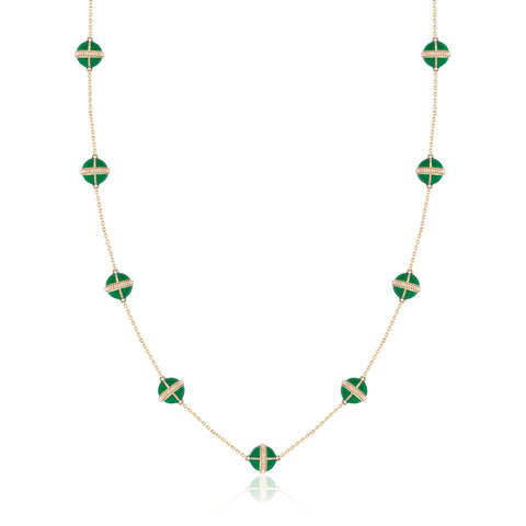 Rising Canopus Necklace, 9 Motifs (Green)