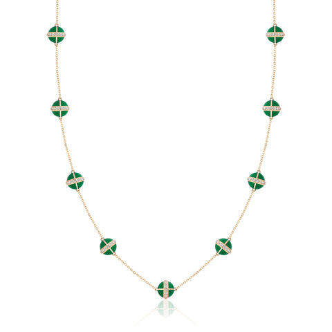 Rising Canopus Necklace, 9 Motifs with Diamonds (Green)