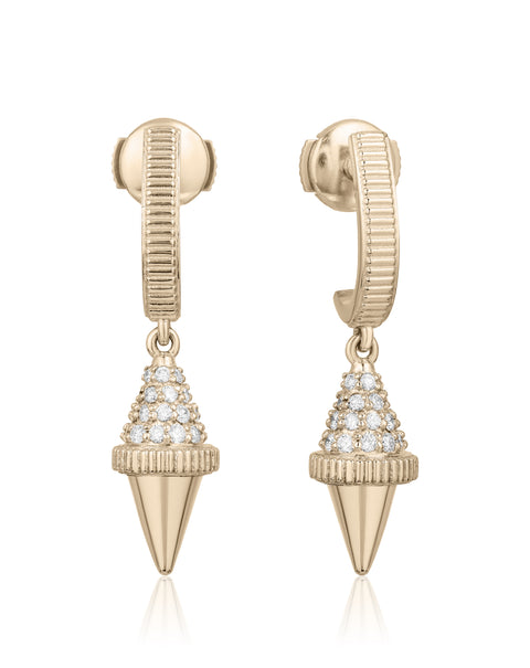 Golden Iconec Earrings with Diamonds (Top Cone)