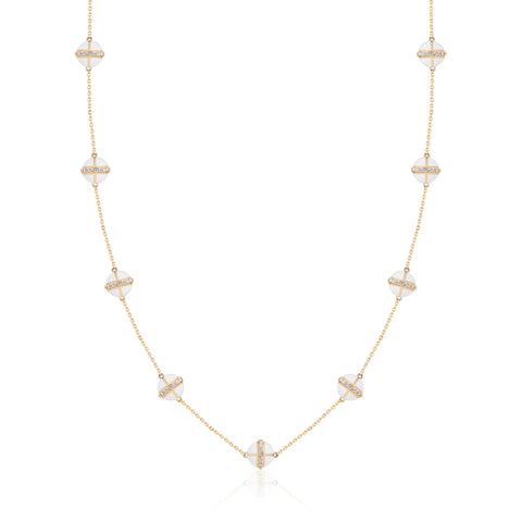 Rising Canopus Necklace, 9 Motifs with Diamonds (White)