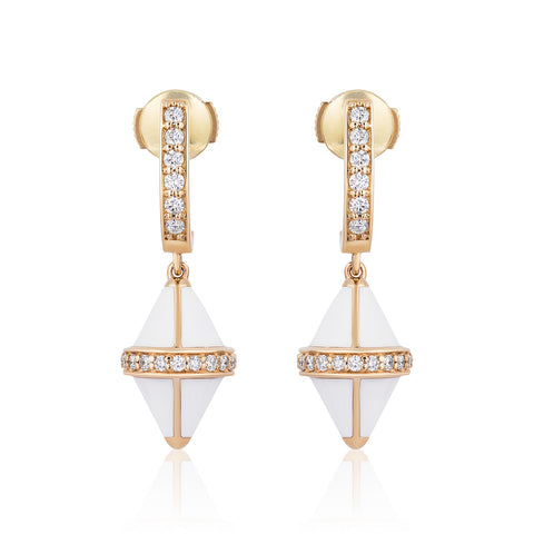 Tresor Iconec Earrings - White Enamel with Diamonds