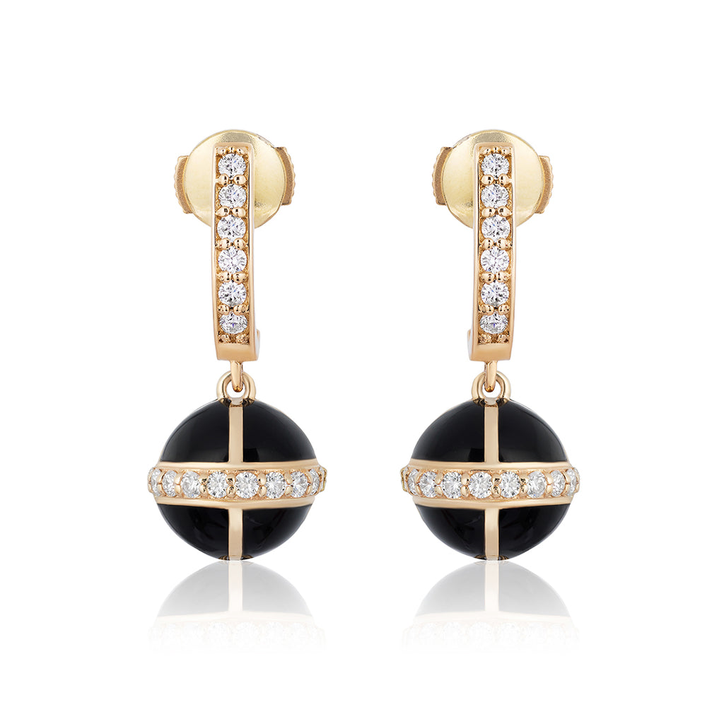 Rising Canopus Drop Earrings with Diamonds (Black)