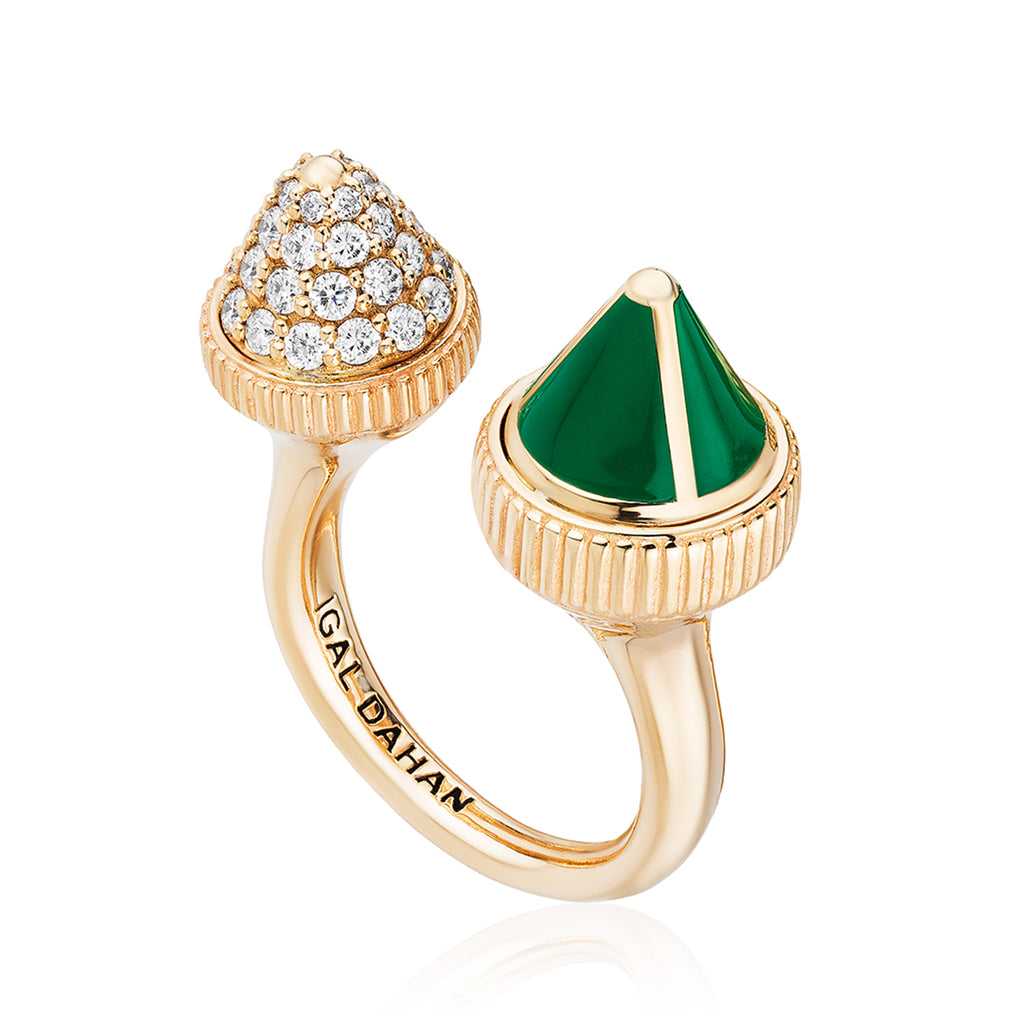 Tresor Iconec Ring - Green Enamel with Diamonds