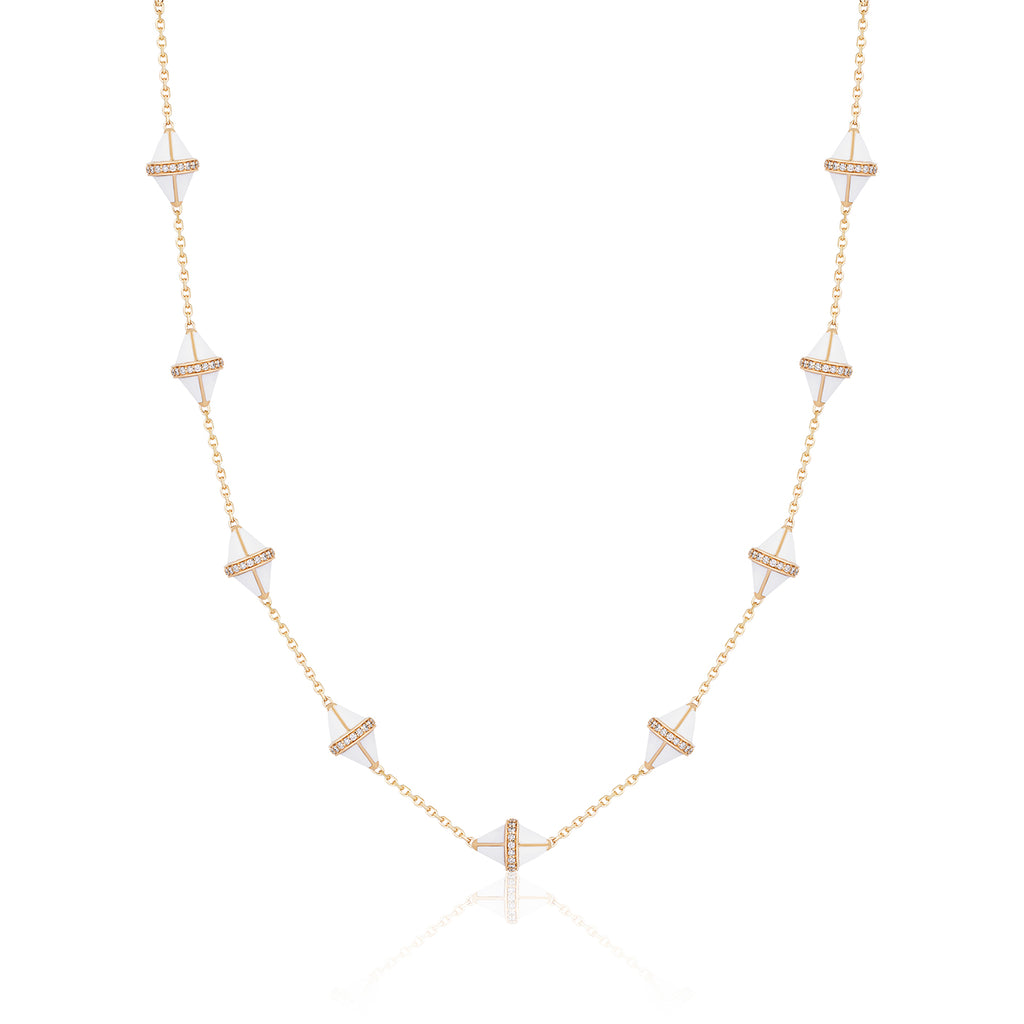 Tresor Iconec Necklace, 10 Motifs and Diamonds (White)