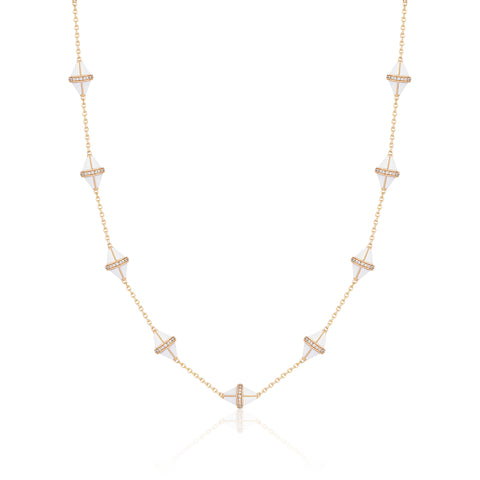 Tresor Iconec Necklace - White Enamel with Diamonds