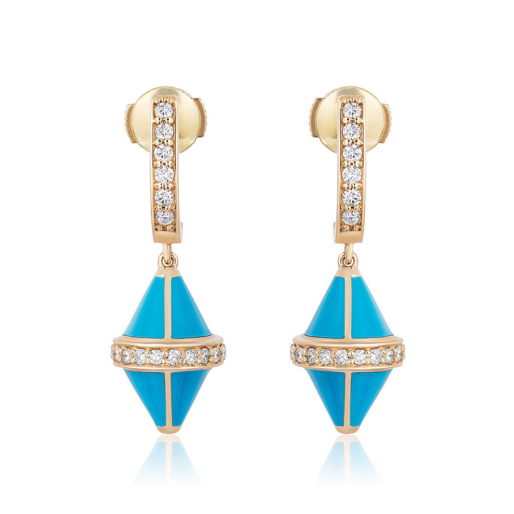 Tresor Iconec Earring Set with Diamonds (Turquoise)
