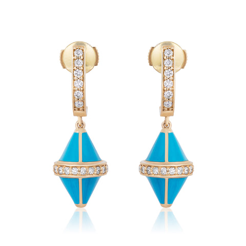 Tresor Iconec Earrings - Turquoise Enamel with Diamonds