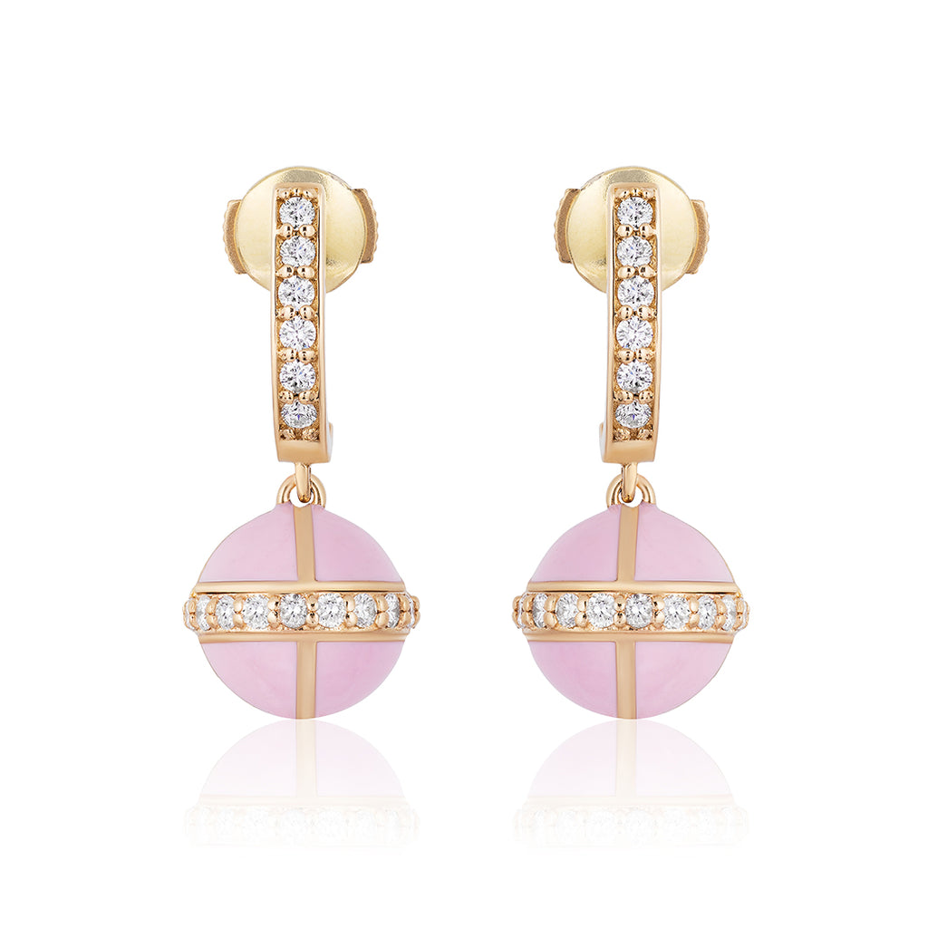 Rising Canopus Drop Earrings with Diamonds (Pink)