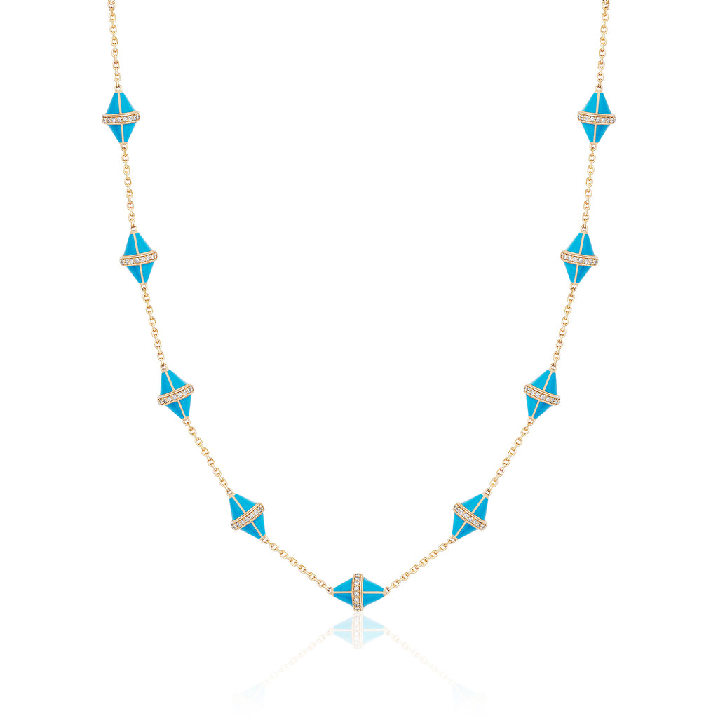 Tresor Iconec Necklace, 10 Motifs and Diamonds (Turquoise)