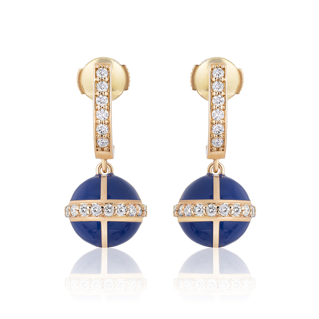 Rising Canopus Drop Earrings with Diamonds (Blue)
