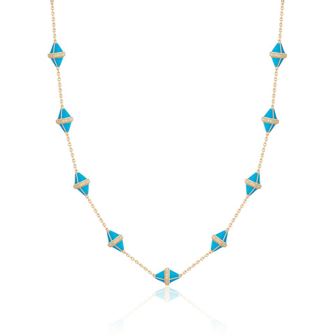 Tresor Iconec Necklace - Turquoise Enamel